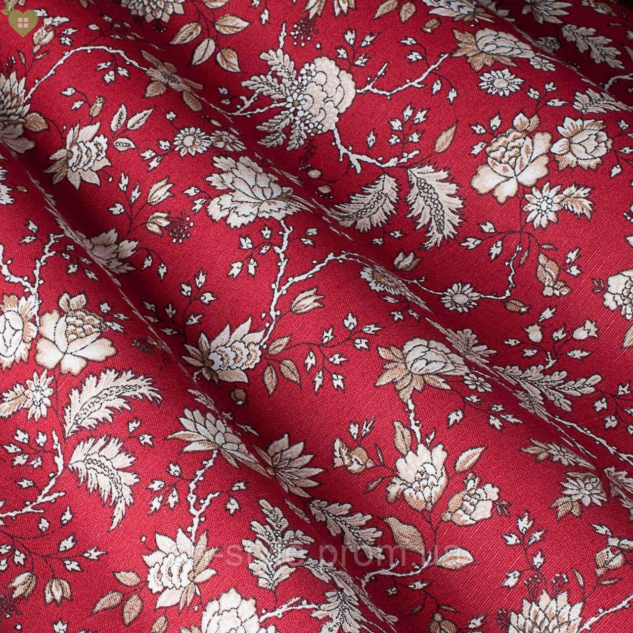 Ткань цветочки монохром