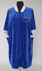 Домашний женский велюровый халат большого размера