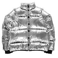 Стильная теплая детская серебряная куртка бомбер EVERLAST для девочки e3f5587f6da8e