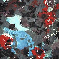 Коттон стрейч серый с красно-голубыми цветами ш.140 ( 18423.003 )
