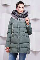 Удлиненная куртка-пуховик женская зимняя «Лавика» (46, 48, 50, 54 | Оливковый, серый)