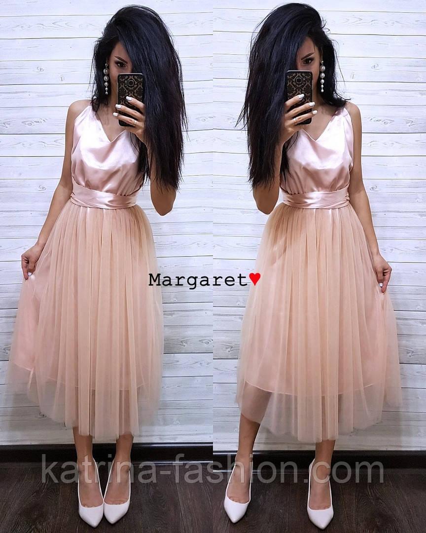 Женское нежное платье атлас и фатиновая юбка (4 цвета)