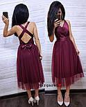 Женское нежное платье атлас и фатиновая юбка (4 цвета), фото 2