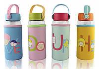 Бутылочка для воды в тканевом чехле c силиконовой крышкой и ручкой Face Letters
