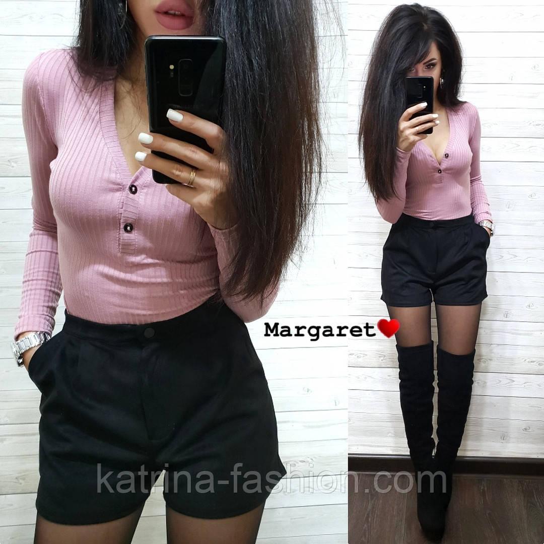 Женский костюм: кофточка и замшевые шорты (3 цвета)