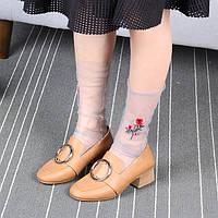 Женское Девочка розы Цветочная вышивка сетки Носки Ультра тонкий прозрачный высокий Push Носки 1TopShop