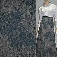 Твид бирюзово-серый с цветами ш.150 ( 19605.002 )