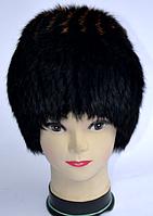 Жіноча хутрова шапка з хутра кролика чорна з коричневими смужками