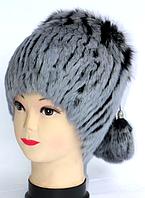 Жіноча шапка з хутра кролика сірого кольору