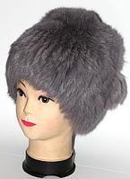 Жіноча хутрова шапка з хутра кролика темно-сірий окрас