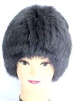 Модна жіноча хутрова шапка сірий окрас