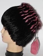 Молодіжна жіноча хутрова шапка чорна рожеві смужки