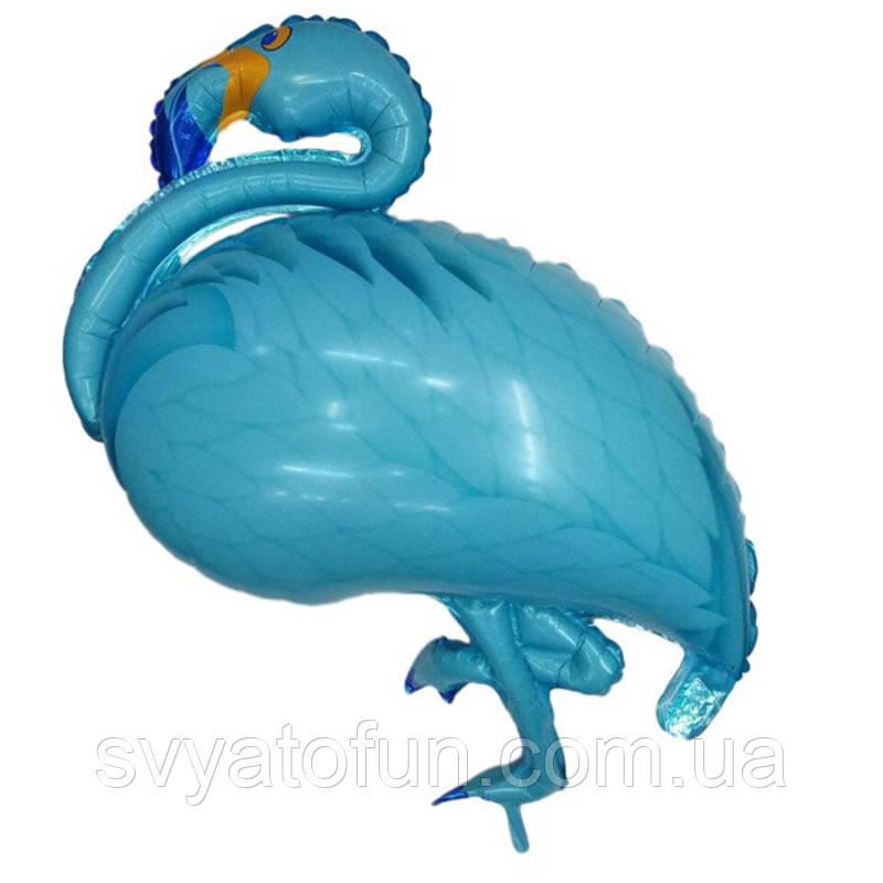 Фольгированный шар фигура Фламинго голубой 105см Китай