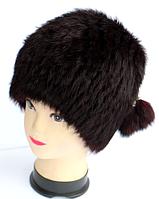 Женская меховая шапка кубанка из кролика темно-вишневый окрас