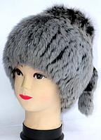Жіноча хутрова шапка з хутра кролика сірого кольору