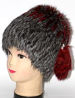 Жіноча шапка з натурального хутра сіра з червоними смужками
