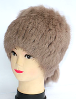 Зимова жіноча хутрова шапка кубанка - колір капучіно
