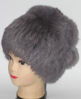 Зимова жіноча хутрова шапка кубанка сіра