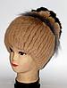 Женская шапка из натурального меха бежевая