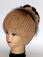 Женская шапка из натурального меха бежевая, фото 1
