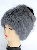 Женская шапка из меха кролика серая