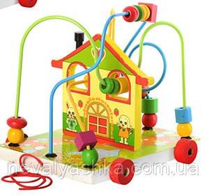 Деревянная игрушка Каталка Лабиринт Домик Дом, MD 0016, 004571