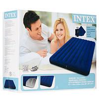 Двуспальный надувной матрас Intex 68765 с насосом и подушками, велюровый