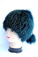 Жіноча натуральна шапка з хутра лисиці, чорнобурки
