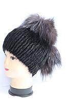 Жіноча модна шапка з хутра нутрії і чорнобурки