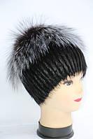 Жіноча модна натуральна шапка з хутра нутрії і чорнобурки