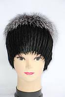 Зимова жіноча шапка з хутра нутрії і чорнобурки