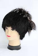 Натуральна шапка жіноча з хутра кролика і чорнобурки