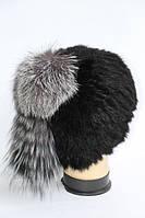 Жіноча зимова шапка з хутра ондатри і чорнобурки