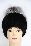 Зимова шапка жіноча з хутра ондатри і чорнобурки