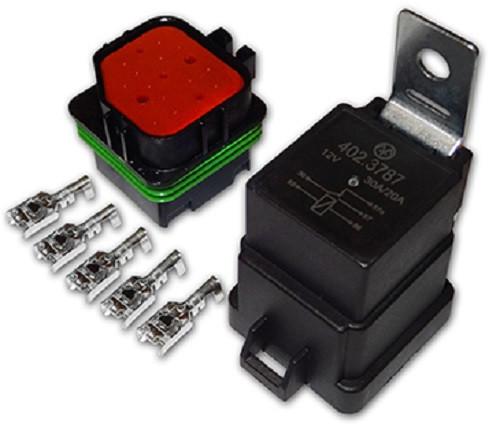 Реле электромагнитное 402.3787 12В 30/20А 5-ти контактное с колодкой