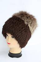 Жіноча зимова шапка з хутра кролика і песця