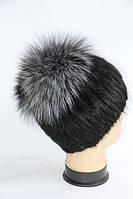 Стильна жіноча хутрова шапка з ондатри і чорнобурки