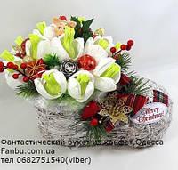 """Новогодние конфетные подснежники в кашпо""""Башмачок счастья"""", фото 1"""