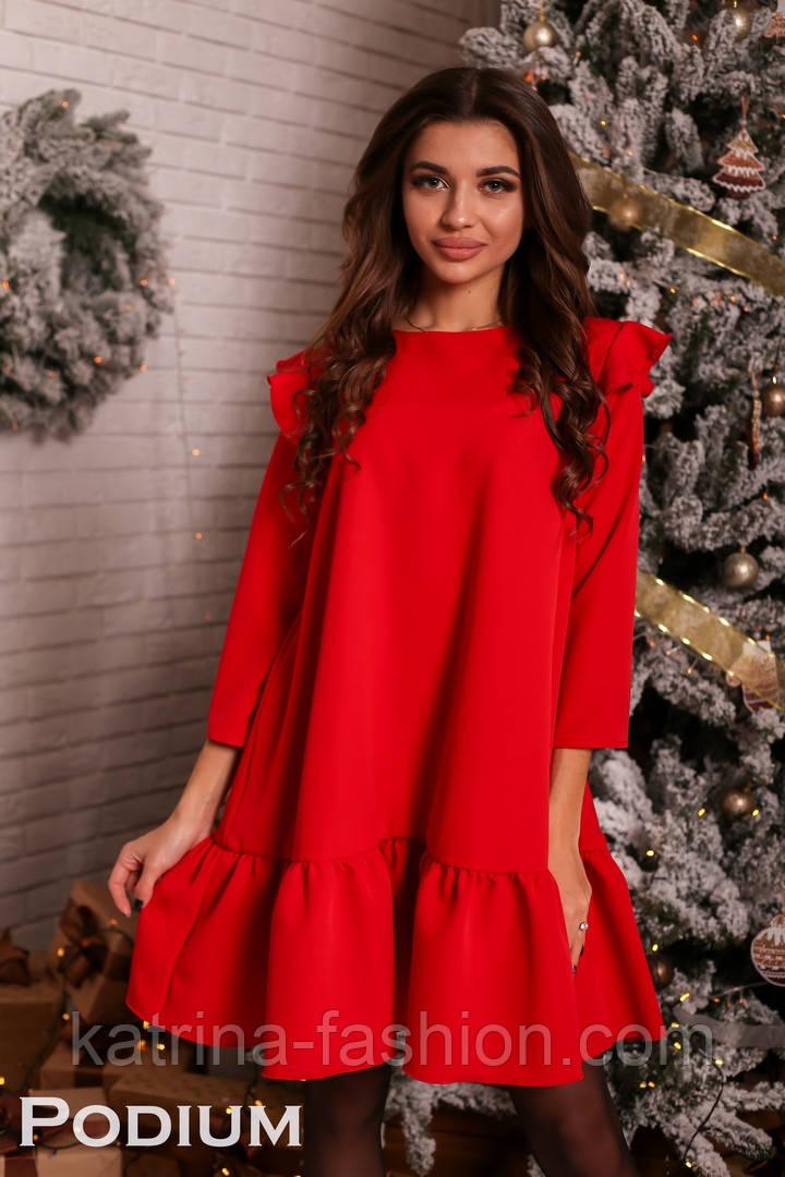 Женское платье свободного кроя с рюшами (4 цвета)