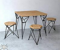 Оригинальный кухонный стол в лофт стиле массив дерева