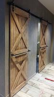 Амбарные раздвижные двери из натурального дерева в лофт loft стиле x