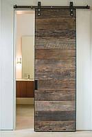 Амбарные раздвижные двери из натурального дерева и металла в лофт loft стиле