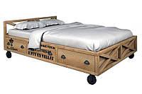 Двухспальная кровать в loft стиле из натурального дерева