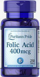 Puritan's Pride Folic Acid 400 mcg 250 tablets, Фолиевая Кислота 400 мкг 250 таб