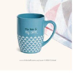 Кружка чашка голубая треугольнички от ив роше в коробке My tea & MY COFFEE