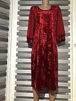 Красное длинное бархатное платье рукав шифон