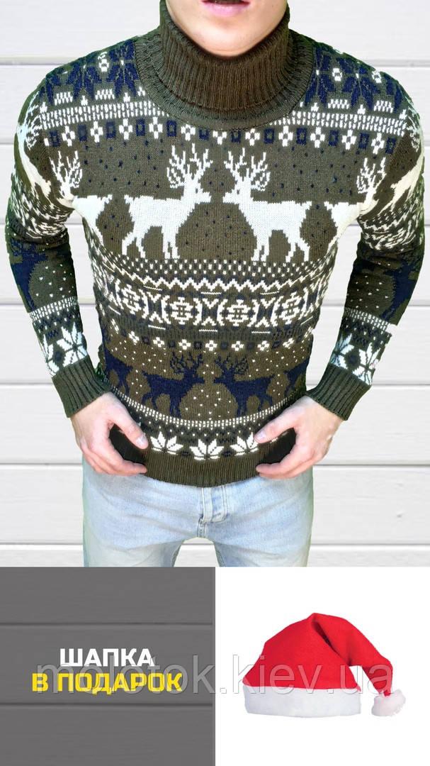328d76b3896 Мужской зимний свитер с оленями теплый коричневый XL - MOLOTOK – магазин  одежды