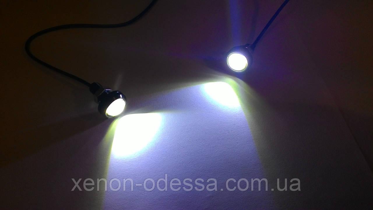 """Яркие DRL линзы """"Орлиный Глаз"""" COB LED EAGLE EYE 23мм 3W (Белый)"""