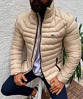 Мужская зимняя куртка теплая Lacoste Реплика коралловый