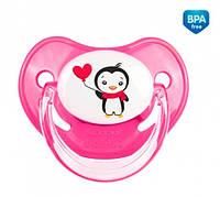 Пустышка силиконовая анатомическая 0-6 мес Пингвин, розовая, Canpol babies (22/583-3)